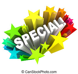mot, vente, économies, étoiles, unique, événement, spécial