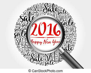 mot, vente, année, nouveau, 2016, nuage, heureux