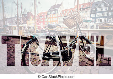 mot, voyage, sur, classique, vendange, retro, ville, vélo, dans, copenhage
