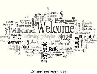 mot, 'welcome', étiquette, équivalents, nuage, spectacles
