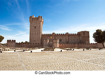 mota, la, campo, medyna, del, zamek, valladolid, hiszpania