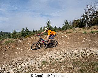 motard montagne, équitation, pistes, dans, galles