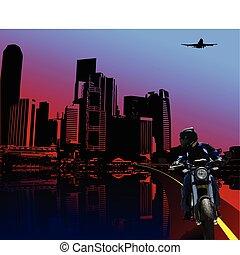 motard, nuit, urbain, fond