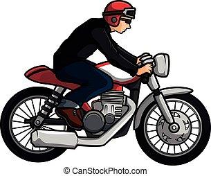 motard, vieux, motocyclette
