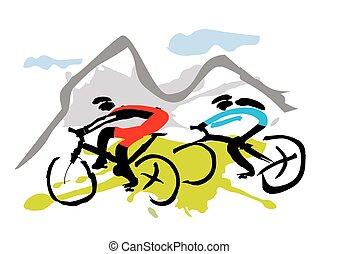 motards, montagne, équitation, piste