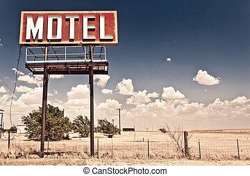motel, öreg, aláír