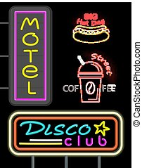 Motel and Disco Club Set Neon Vector Illustration