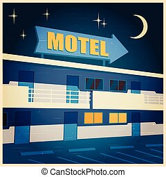 motel at night old poster
