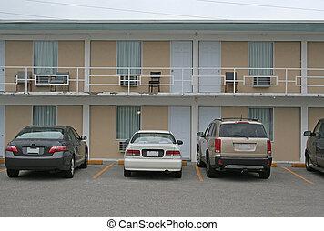 motel, billig, außen