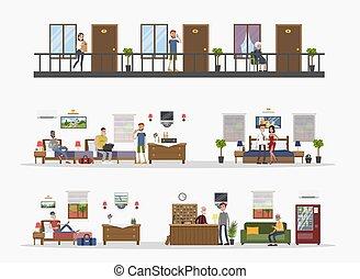 Motel city building. - Motel city building interior rooms...