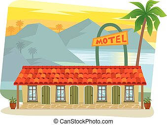 Motel - Cute motel with palm tree at the front and landscape...