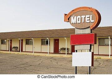 motel, i, znak