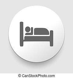 motel, -, letto, in pausa, vettore, uomo, icona