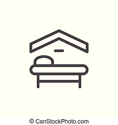 Motel line icon isolated on white. Vector illustration