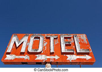 motel, neón, vendimia, señal