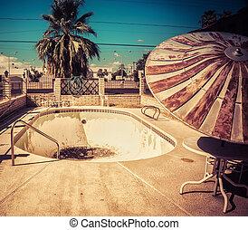 motel, p, abandonado, lado, camino, natación