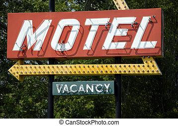 motel, retro, señal