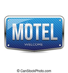 Motel retro sign vector blue