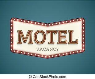 Motel roadsign - Retro American motel roadsign. Light bulbs...