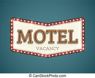 Motel roadsign - Retro American motel roadsign. Light bulbs ...