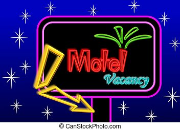 Motel sign board - Neon sign board illustration with blue ...