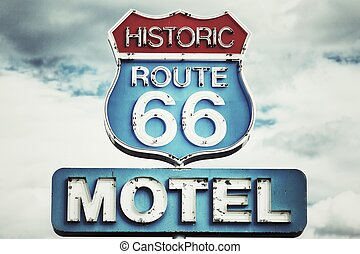 Route 66 USA  - Motel sign on Route 66 USA