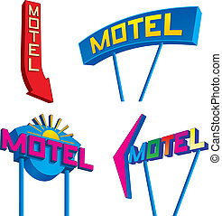 Set of four retro looking motel signs at different angles.