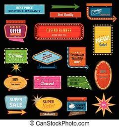 motel, spandoek, retro, meldingsbord
