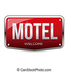 motel, vector, retro, señal