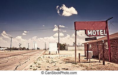 motel, vieux, signe