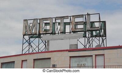 motel, zeichen.