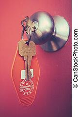 Motell,  retro, nyckel
