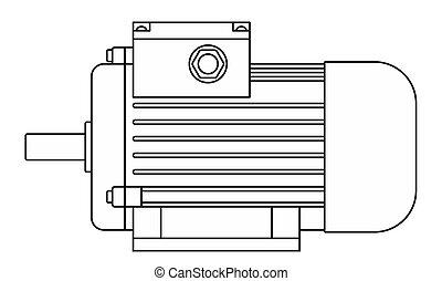 moteur, électrique, illustration, contour