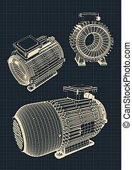 moteur, électrique, illustration, dessins