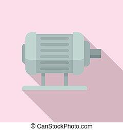 moteur, électrique, style, icône, plat