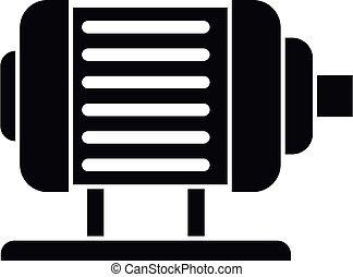 moteur, électrique, style, simple, icône