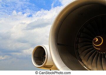 moteur, aéroport, opération, avion, jet