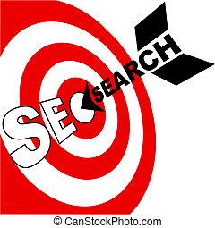 moteur, accès, cible, recherche, optimization, flèche, seo