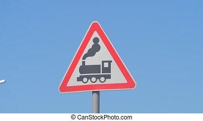moteur, ahead., ou, devant, barrière, route, poteau ...