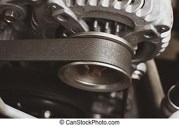 moteur, automobile, alternator, système, vieux, voiture, synchronisation, concept., ceinture, partie