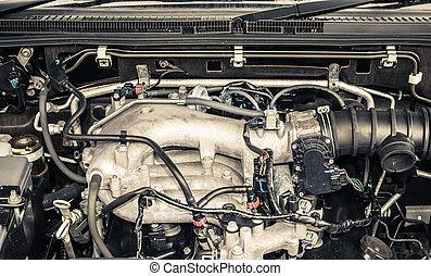 moteur, automobile, haut fin