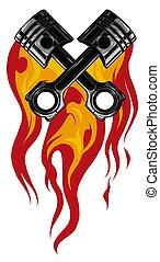 moteur, bannière, vecteur, conception, traversé, pistons, flamme, tatouage