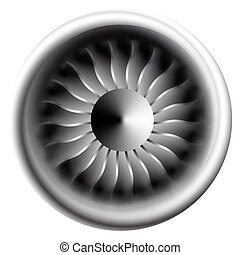 moteur, bladesin, gros plan, jet, industry., motion., illustration, avion, vecteur, ventilateur, blanc, turbine, avion, circulaire