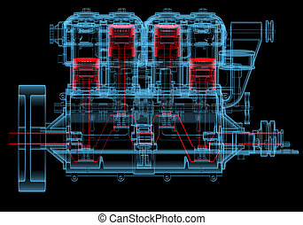 moteur, bleu, combustion, (3d, transparent), xray, interne, rouges