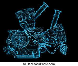 moteur, bleu, isolé, noir, transparent, rayon x