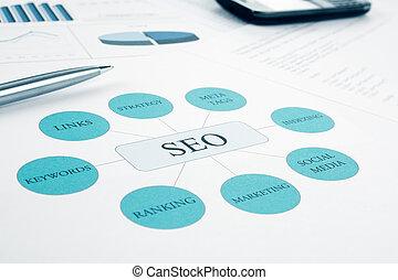 moteur, bleu, recherche, concept, modifié tonalité, optimazion, couler, business, chart., arrière-plan., stylo, smartphone, seo