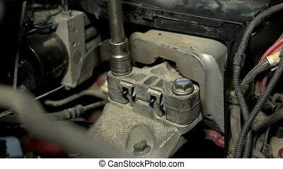 moteur, bolts., grand plan, visser, hermétiquement, voiture
