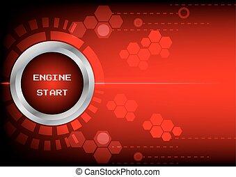 moteur, bouton, début, abstrack, fond, technologie, rouges