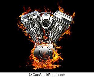 moteur, brûler