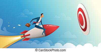 moteur, business, en avant!, vecteur, grand, fusée, voler, target., illustration, concept, homme affaires